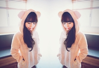 bear hood soft ulzzang cream korean fashion asian young girl