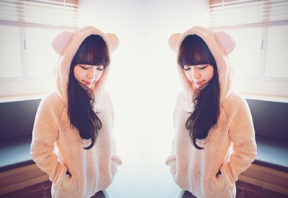 young girl bear hood soft ulzzang cream korean asian