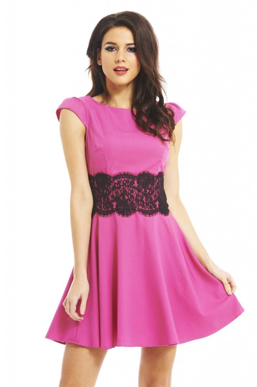 Pink & Black Lace Flared Skater Dress