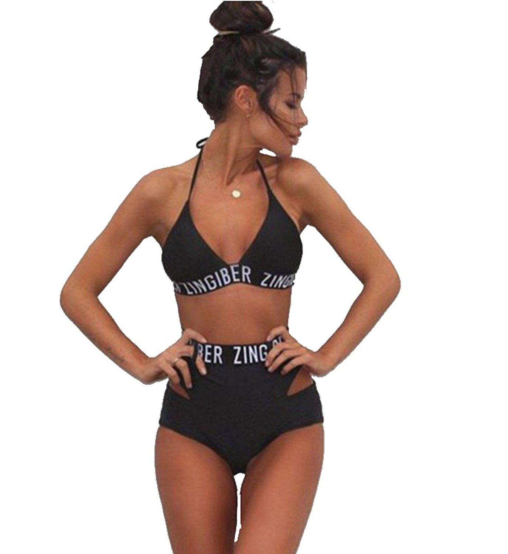 Amazon.com: Cute Tie Up Halter High Waist 2 Pieces Bikini Swimwear for Girls Letter Printed Beachwear for Teens: Clothing