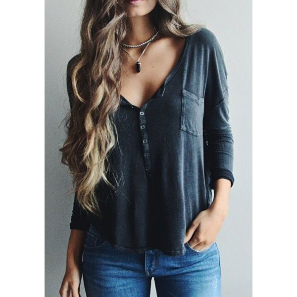 Wholesale Solid Color Stylish Plunging Neck Long Sleeve T-Shirt For Women (AS THE PICTURE,L), Long Sleeves - Rosewholesale.com