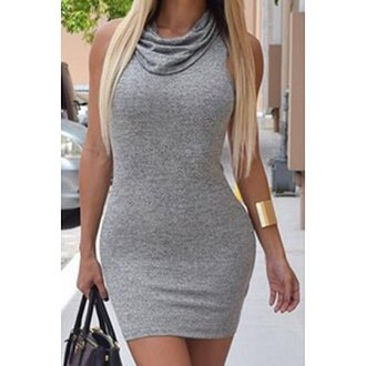 dress grey fashion summer style sexy hot clothes short dress rose wholesale-feb