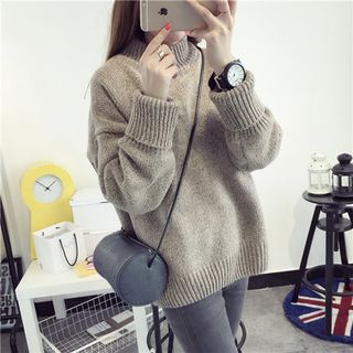 Plain Mock Neck Sweater