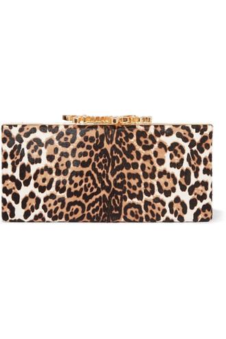 hair embellished clutch print leopard print bag