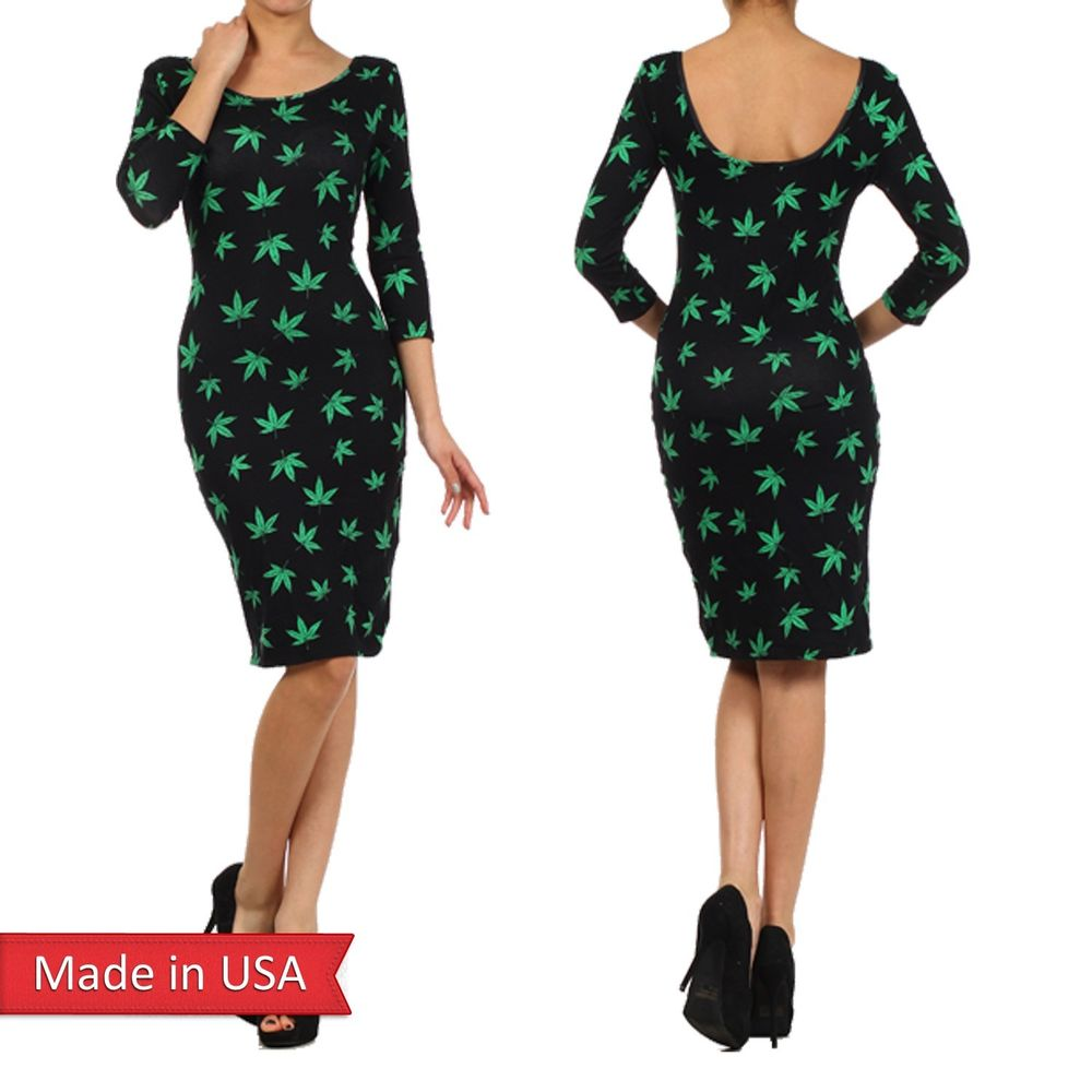 New Black Pot Weed Hemp Cannabis Marijuana Green Print Bodycon Cotton Dress USA