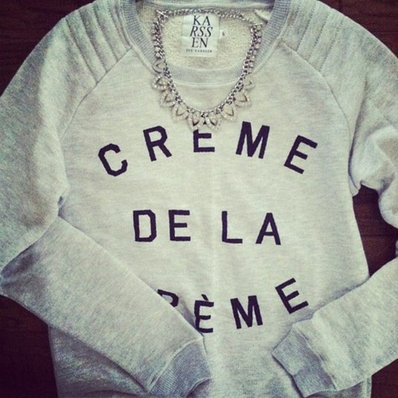 shirt sweatshirt necklace grey black black text text