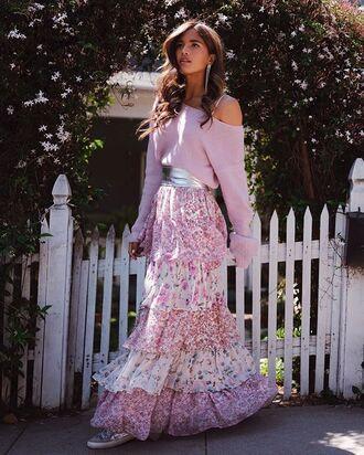 skirt ruffle skirt maxi skirt ruffle pink skirt floral floral skirt sweater pink sweater