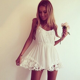 dress lace dress white dress sundress sinched waist flower lace dress flower lace