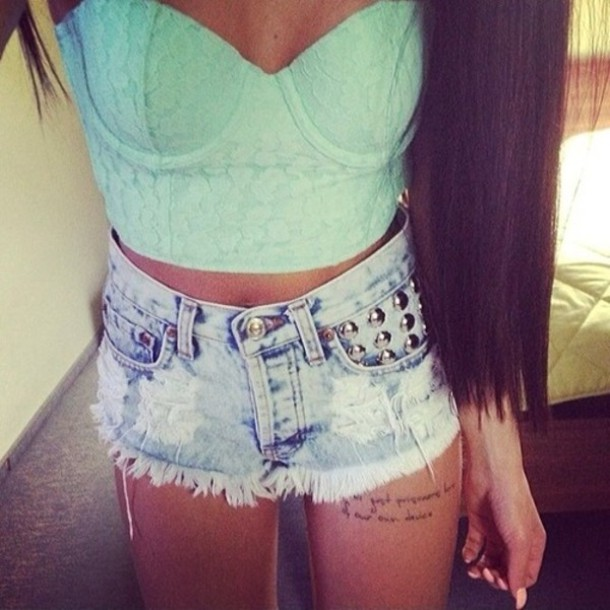 962751e8399915 top, blue, crop tops, mint, girl, shorts, bustier, lace, strapless ...