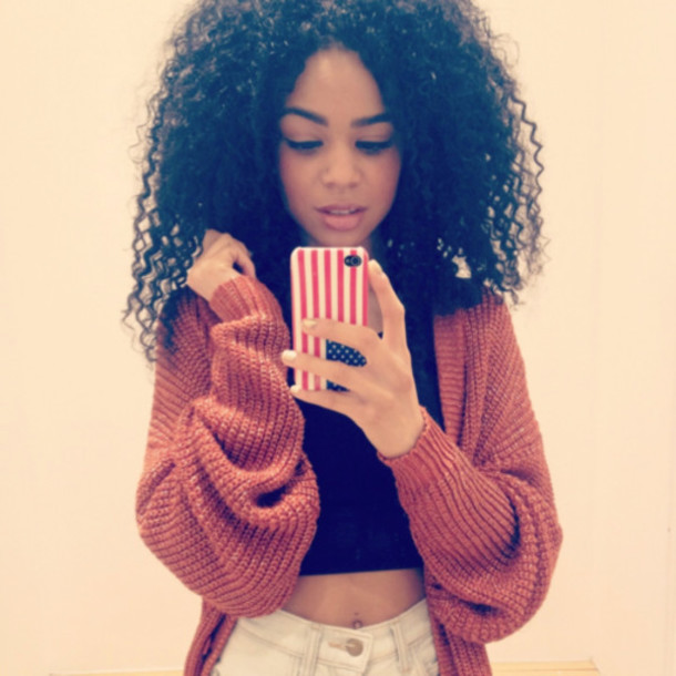 sweater cardigan red sweater red black sweater curly hair rouge pull gilet pullover phone cover