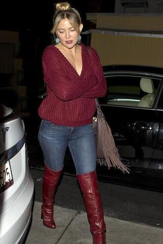 sweater plunge v neck boots burgundy kate hudson over the knee boots