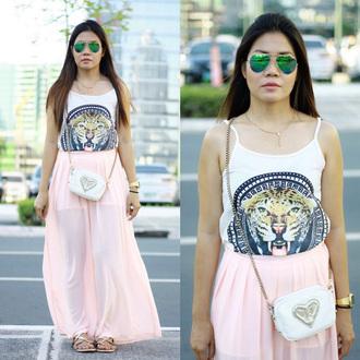 skirt pink fashion summer style spring chiffon maxi flowy pretty girly