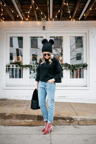 bows&sequins blogger top sweater coat shoes jeans bag dress jewels hat beanie black sweater boots bell sleeve sweater winter outfits
