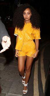 top,leigh-anne pinnock,shorts,sandals,blouse,celebrity