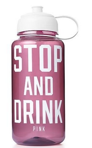 "Victoria's Secret ""Pink"" Stop Drink Maroon White 32 oz Water Bottle 