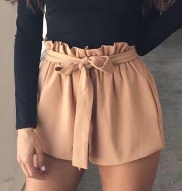shorts paperbag nude pink black grey
