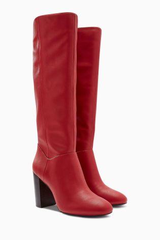 Buy Red Knee High Block Heel Boots from the Next UK online shop