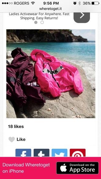 jacket pink burgundy pink by victorias secret