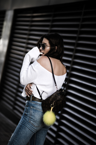 top tumblr white top backpack mini backpack denim jeans off the shoulder sunglasses louis vuitton backpack bag
