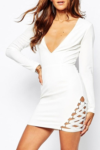 dress fashion strappy sexy long sleeves solid color crossed lace up plunging neck dress white trendy hot party