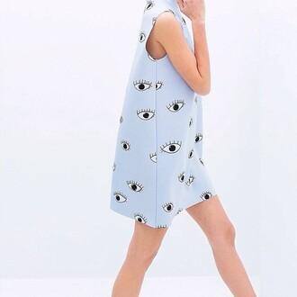 dress zara blue eye blue dress printed dress print tumblr