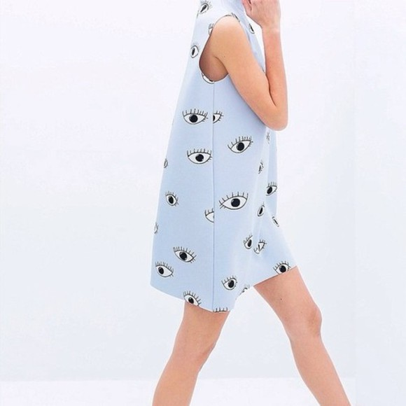 eye dress zara blue tumblr blue dress printed dress print printed