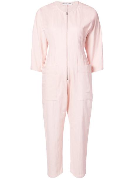 Apiece Apart jumpsuit flare women spandex fit cotton purple pink