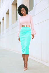 blogger,top,skirt,belt,shoes,bell sleeves,pink blouse,midi skirt,pumps,high heel pumps,gold belt