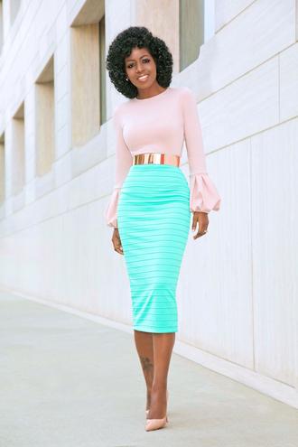 blogger top skirt belt shoes bell sleeves pink blouse midi skirt pumps high heel pumps gold belt