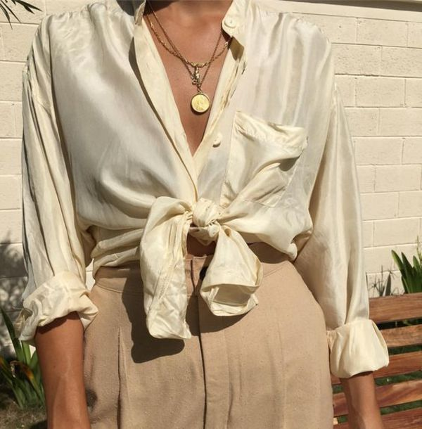 top silk silky dreamy vintage beautiful zodiac tumblr pearl peach peachy soft cute silk blouse greek goddess constellation blouse beige blouse art hoe yesstyle classy classic artsy young business woman classy woman