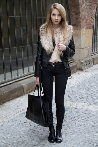 Jacket Fur Collar Jacket Black Jacket Leather Jacket