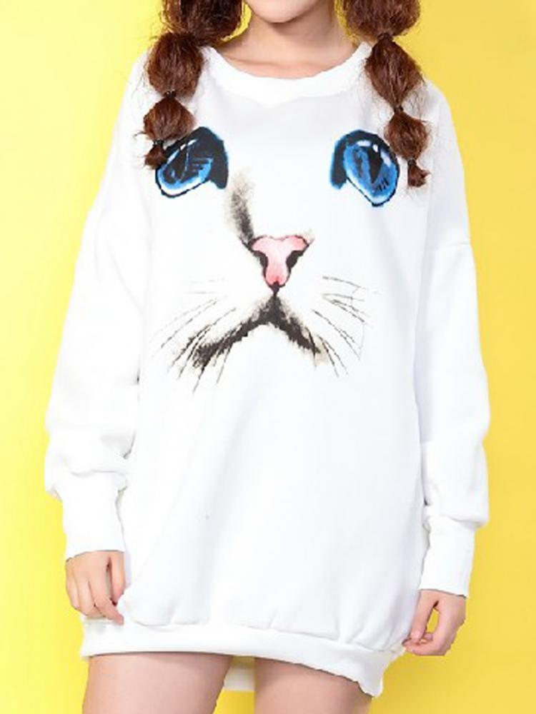 White Sweater - White Cat Face Print Sweatshirt | UsTrendy