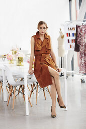 coat,vest,camel,pumps,olivia palermo,shoes,suede jacket,suede,sleeveless coat,trench coat,spring dress