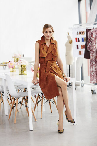 coat vest camel pumps olivia palermo shoes suede jacket suede sleeveless coat trench coat spring dress see shop eat do
