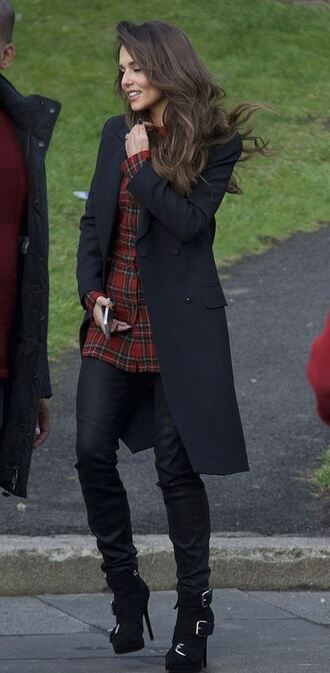 cheryl cole black coat buckles coat shoes