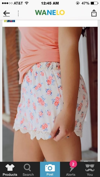 shorts print floral pink white fashion printed shorts style