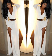 women dresss\,white dress,slit dress,sexy dress,plunge dress,party dress,plunge v neck,belt,court house,court house wedding,wedding,white,white long dress,slit,court house wedding dress,long dress,wedding dress,long sleeve dress,long sleeves,dress,fancy,formal dress,elegant long dresses,elegant dress,white dress with gold beltlt,gold belt,prom dress,maxi dress,side split,white maxi dress,sexy high slit dress