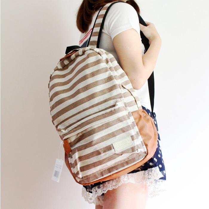 [grhmf22000114]retro navy style stripe print backpack
