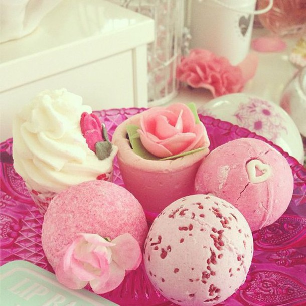 home accessory girly pink cute kawaii kawaii accessory floral cosmetics bath bomb body care
