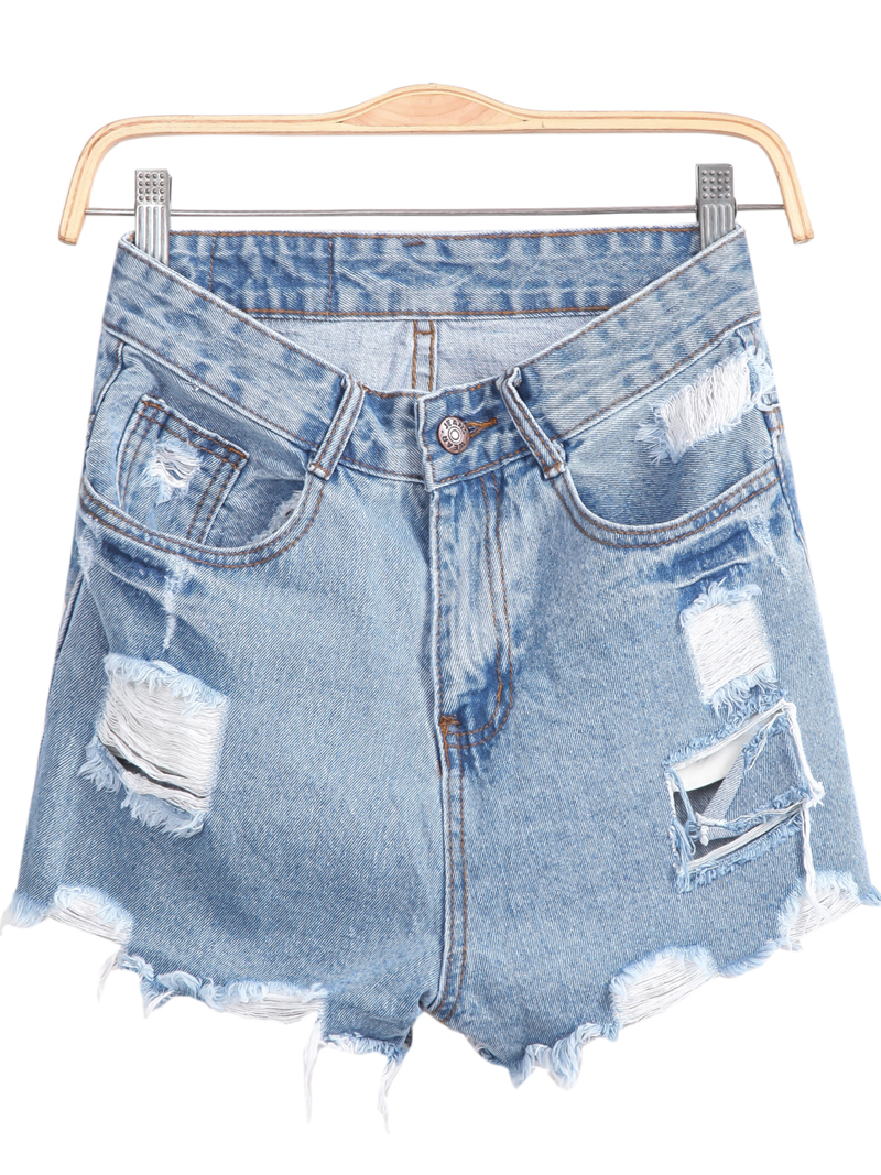 Blue Pockets Fringe Denim Shorts - Sheinside.com