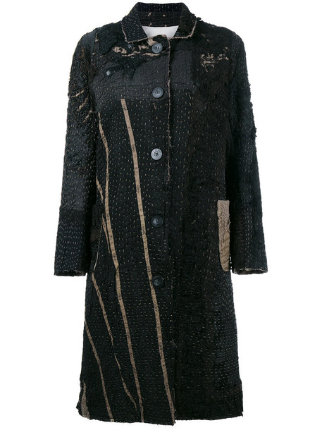 BY WALID coat patchwork women victorian cotton black silk