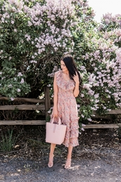 dress,floral,floral dress,sandals,sandal heels,bag,pink bag