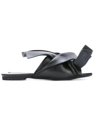 bow women sandals flat sandals leather black shoes