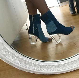 shoes heels clear heels denim heels denim shoes high heels tumblr girl denim booties mid heel boots denim patchwork