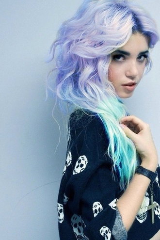 hair accessory purple hairstyles hair dye skull sweater sweater pastel goth pastel hair fashion style romper ombre hair
