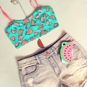 shirt,crop tops,pink,shorts,jewels,phone cover,watermelon print,blue,cute,t-shirt,half shirt,watermelon shirt,underwear,watermelon bikini,iphone case,necklace,blouse,red and green,top,dress,tank top,melon