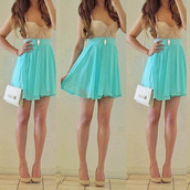 skirt,bloue,dress,blue dress,shoes,clothes,blue,skyblue,pretty,chiffon,turquoise,tank top,mint,nude,short dress,ariana grande,light blue,skater skirt,high waist skirts,pleated skirt