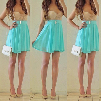 skirt bloue dress blue dress shoes clothes blue skyblue pretty chiffon turquoise tank top mint nude short dress ariana grande light blue skater skirt high waist skirts pleated skirt