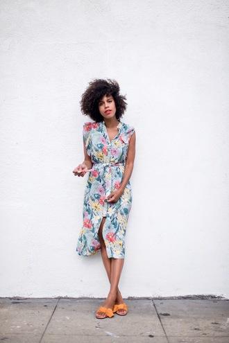 style me grasie blogger dress shoes pants summer dress midi dress floral dress sandals summer outfits