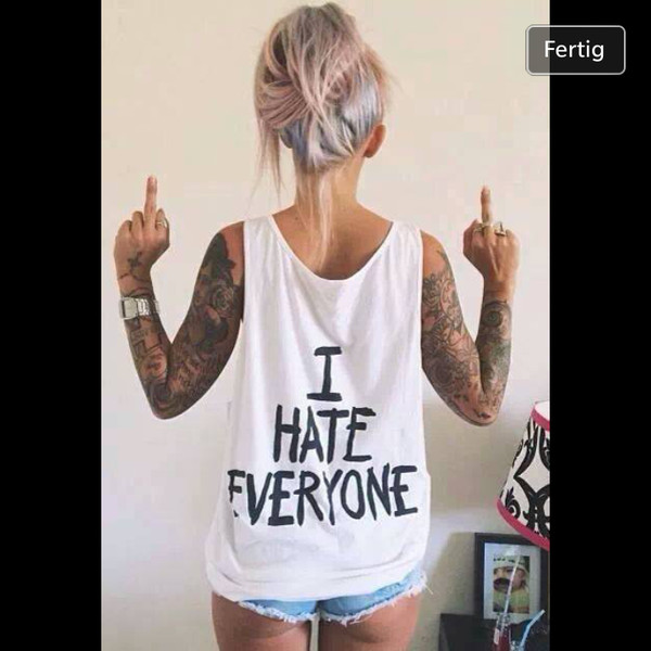 shirt white hate i hate everyone